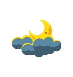 Moon crescent sleeping in dark clouds vector