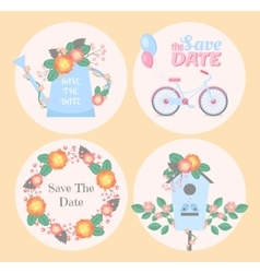 Set of romantic cards vector