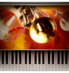 Abstract grunge red background with piano and vector