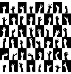 background of black and white squares with hands vector image