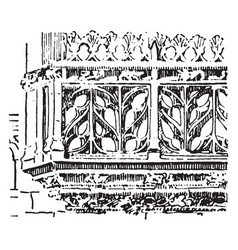 Balustrade flamboyant balustrade vintage engraving vector