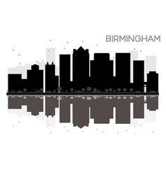 birmingham city skyline black and white vector image vector image