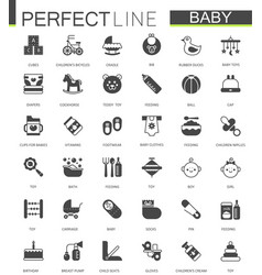 Black classic web icons set baby toys feeding vector