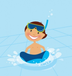 boy swimming vector image