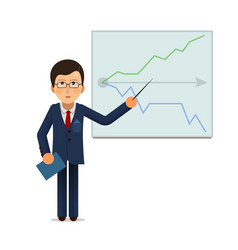 Business man standing with progress chart graph at vector