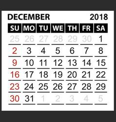 Calendar sheet december 2018 vector