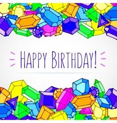 Cartoon doodle gems happy birthday vector image vector image