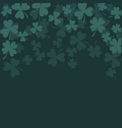 Clover trefoil dark green card background vector