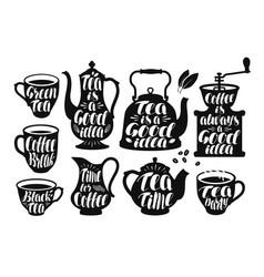 coffee tea label set design template for menu vector image