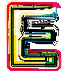 Colorful grunge font letter e vector