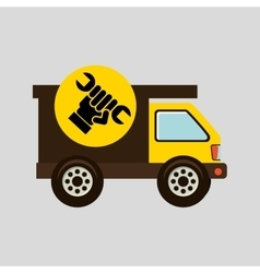Construction gear icon hand wrench vector