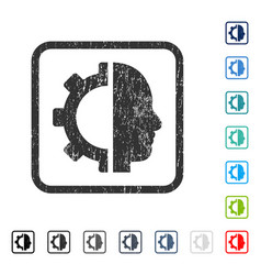 Cyborg gear icon rubber watermark vector