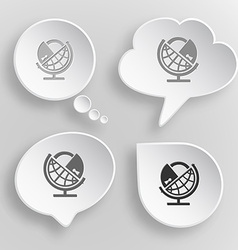 Globe and lock White flat buttons on gray vector image