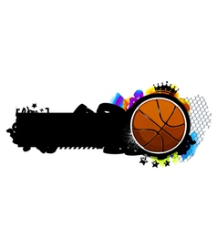 Graffiti image with basketball vector image vector image