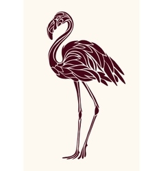 Graphic stylized drawing of flamingos vector image
