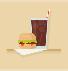 hamburger and drink vector image