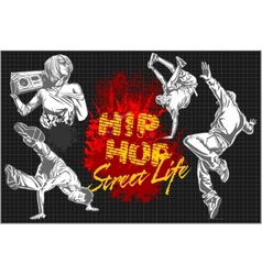Hip hop and break dancers on dark background vector image