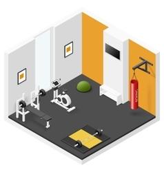 Home fitness room isometric icon set vector
