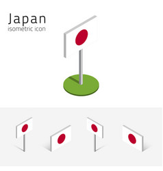 japan flag set of 3d isometric icons vector image vector image