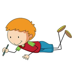 Little boy writing with pencil vector image vector image