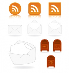mail and feed icons vector image vector image
