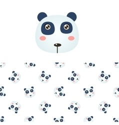 Panda head icon and pattern vector