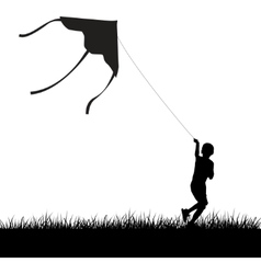 running kite boy silhouette vector image