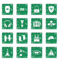 Safety icons set grunge vector
