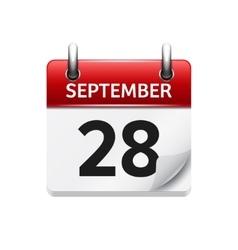 September 28 flat daily calendar icon vector