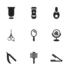 set of 9 editable hairstylist icons includes vector image vector image