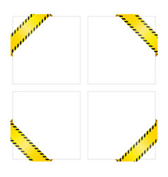 Set of blank yellow caution tapes corner labels vector