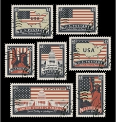 Stamps with america landmarks vector
