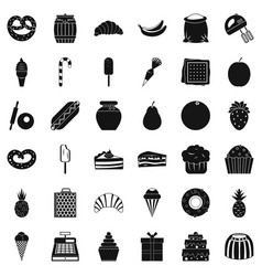Sweet shop icons set simple style vector