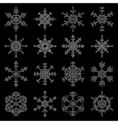 Various types of outline white snowflakes eps10 vector