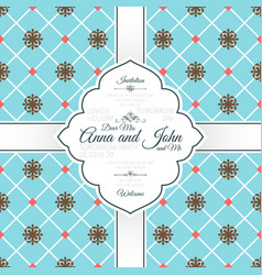 vintage blue spanish pattern card vector image vector image