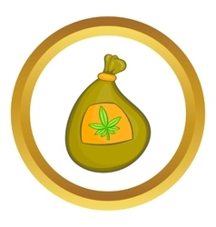 Bag with cannabis icon vector image