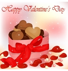 Happy valentine s day card with box of cookies vector