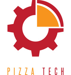 Gear and slice of pizza design template vector