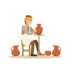 Ceramist man making ceramic pots craft hobby or vector