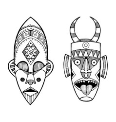 African masks of savages engraving style vector