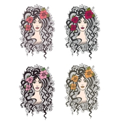 Set of hand drawn girls with flowers vector