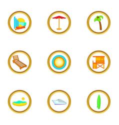 Miami beach icons set cartoon style vector