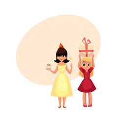 Two girls having fun at birthday party vector