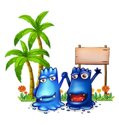 Two happy blue monsters in front of the wooden vector image
