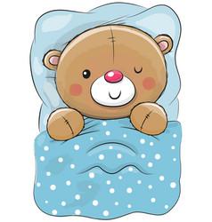 cute cartoon sleeping teddy bear vector image