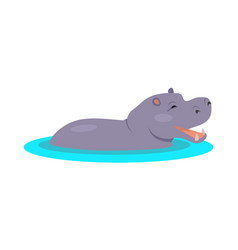 Hippo cartoon icon in flat design vector