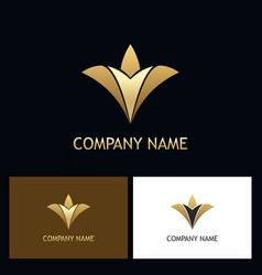 gold luxury abstract flower logo vector image