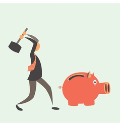 Business man breaking piggy bank with coins vector image