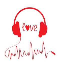 Red headphones with cord in shape of cardiogram vector