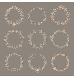 Set hand drawn wreaths vector image